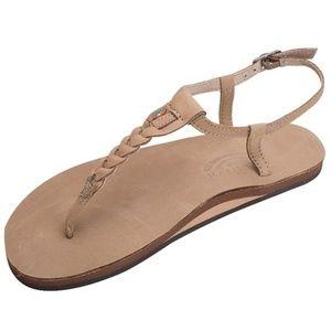 Women's Rainbow leather T-Strap sandals M 6.5-7.5